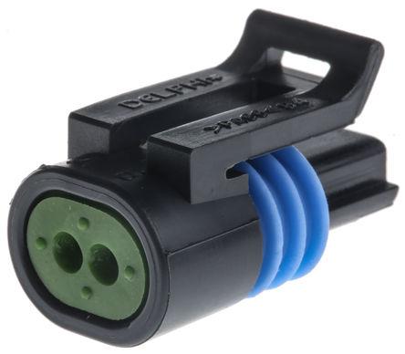 Delphi - 12162193 - Delphi Metri-Pack 150.2 Pull-To-Seat 系列 2路 电缆安装 黑色 母 连接器 12162193, 压接端接