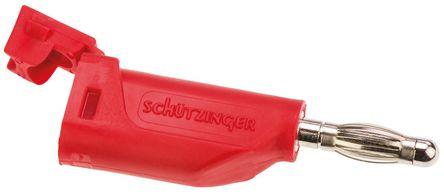 Schutzinger - FK15S RED - Schutzinger FK15S RED 红色 可堆叠香蕉插头, 30 V ac, 60 V dc 16A, 镀镍触点