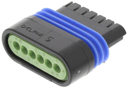 Delphi - 12162210 - Delphi Metri-Pack 150.2 Pull-To-Seat 系列 6路 电缆安装 黑色 母 连接器 12162210, 压接端接