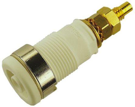 Hirschmann Test & Measurement - 972354107 - Hirschmann 972354107 白色 4mm 插座, 1000V ac/dc 32A, 镀金触点