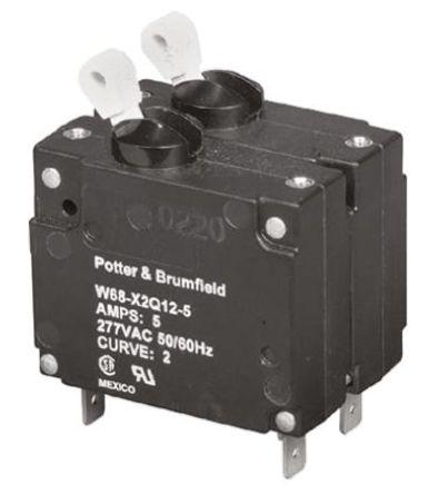 TE Connectivity - W68-X2Q12-5 - TE Connectivity W68 系列 5A 2 极 热磁断路器 W68-X2Q12-5, 277V ac