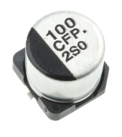 Panasonic - EEEFP1C101AP - Panasonic FP SMD 系列 16 V 直流 100μF SMD 铝电解电容器 EEEFP1C101AP, ±20%容差, 260mΩ(等值串联), 最高+105°C, D封装