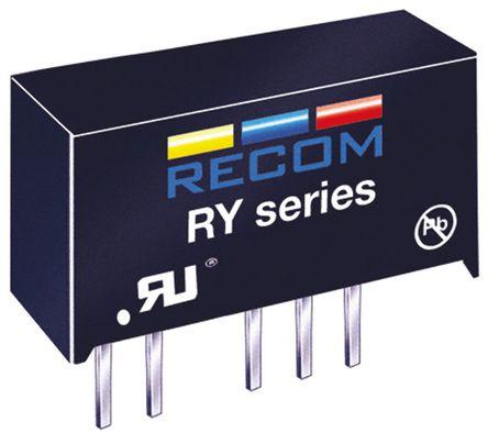 Recom - RY-0505D - Recom RY 系列 1W 隔离式直流-直流转换器 RY-0505D, ±5V dc输出, ±100mA输出, 1kV dc隔离电压, 50 → 58%效能, SIP封装