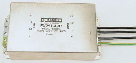Schaffner - FN251-16-07 - Schaffner FN 251 系列 3相 16A 440 V ac, 60Hz 法兰安装 电源线滤波器 FN251-16-07, 带引线接端