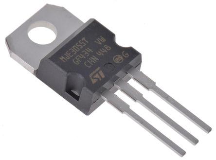 STMicroelectronics - MJE3055T - STMicroelectronics MJE3055T , NPN 晶体管, 10 A, Vce=60 V, HFE:5, 2 MHz, 3引脚 TO-220封装