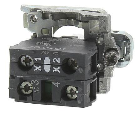 Schneider Electric - ZB4BW0B11 - Schneider Electric XB4 系列 接触块和照明块 ZB4BW0B11, 1 常开, 24 V 交流/直流, 白色 LED, 螺钉接端