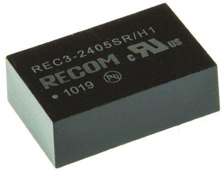 Recom - REC3-2405SR/H1 - Recom REC3 系列 3W 隔离式直流-直流转换器 REC3-2405SR/H1, 20.4 → 27.6 V 直流输入, 5V dc输出, 600mA输出, 1kV dc隔离电压, 75%效能, DIP封装