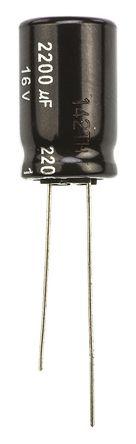 Panasonic - ECA1CHG222 - Panasonic NHG 系列 16 V 直流 2200μF 通孔 铝电解电容器 ECA1CHG222, ±20%容差, 最高+105°C