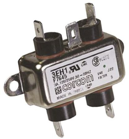 TE Connectivity - 3EH1 - TE Connectivity 3EH1 电源线过滤, 3 A, 250 V 交流, 2.53 x 0.96 x 0.66 in