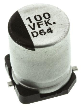 Panasonic - EEEFK1V101AP - Panasonic FK SMD 系列 35 V 直流 100μF SMD 铝电解电容器 EEEFK1V101AP, ±20%容差, 160mΩ(等值串联), 最高+105°C