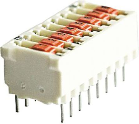 TE Connectivity - 5161390-8 - TE Connectivity 5161390-8 8位置 滑动 通孔 DIP 开关, 单刀单掷, 25 mA@ 50 V dc