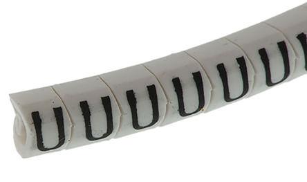 "HellermannTyton - 901-10493 - HellermannTyton Helagrip 系列 250件�b 白底黑字 滑上固定 ��|�俗R 901-10493, 5mm�L, 6.8 mm��, 4 → 9mm��|直��, 印有""U""�D例"