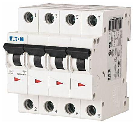 Eaton - FAZ6-C10/4 - Eaton xEffect FAZ6 系列 4极 10 A MCB 微型断路器 FAZ6-C10/4, 6 kA 断开能力, C型 跳闸特性