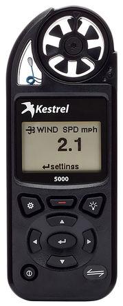 Kestrel - 0850BLK - Kestrel 0850BLK 风速计, 最大风速40m/s, 测量气流、海拔、密度、密度海拔、露点、蒸发率、热指数、含湿量、压力、相对空气密度、顺风、湿球温度、风寒