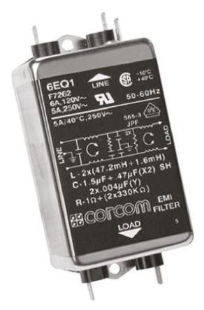 TE Connectivity - 6EQ1 - TE Connectivity 6EQ1 电源线过滤, 6 A, 250 V 交流, 126.5 x 57.7 x 45.7 mm