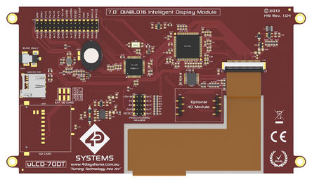 4D Systems - uLCD-70DT - 4D Systems 7in TFT 触摸屏 触摸屏显示模块, 800 x 480pixels 分辨率, LED背光 I2C, TTL 接口