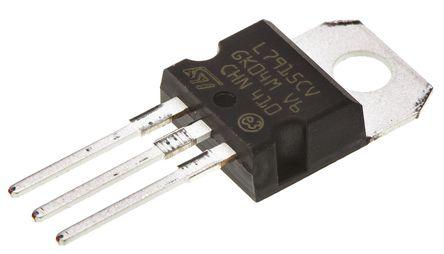 STMicroelectronics - L7915CV - STMicroelectronics L79xx 系列 L7915CV 负电压 线性稳压器, 最大为 -35 V输入, -15 V输出, 1.5A最大输出, 3引脚 TO-220
