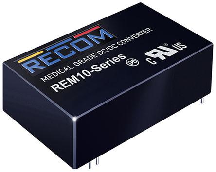 Recom - REM10-2412S/A - Recom REM10 系列 10W 隔离式直流-直流转换器 REM10-2412S/A, 18 → 36 V 直流输入, 12V dc输出, Maximum of 830mA输出, 5kV ac隔离电压
