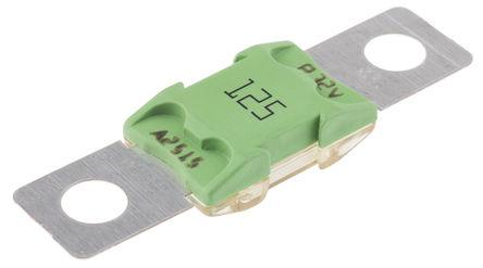 Pudenz - 153.5395.6121 - Pudenz 125A 绿色 BF2 车用螺栓固定熔断器 153.5395.6121, 32V dc, 67.3mm x 18.8mm x 10.4mm