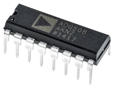 Analog Devices - ADG508AKNZ - Analog Devices ADG508AKNZ 多路复用器, 单 8:1, 12 V, 15 V电源, 16引脚 PDIP封装