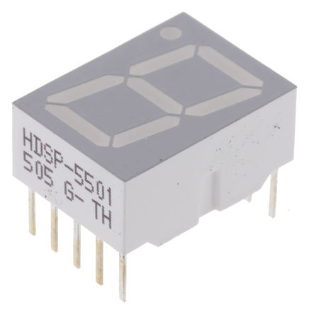 Broadcom - HDSP-5501-GH000 - Broadcom 1字符 7段 共阳 红色 LED 数码管 HDSP-5501-GH000, 3.7 mcd, 右侧小数点, 14.22mm高字符, 通孔安装