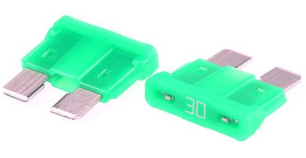 Littelfuse - 0287030.PXCN - Littlefuse 30A 绿色 车用插片式熔断器 0287030.PXCN, 32V dc, 19.1mm x 5.1mm x 12.3mm