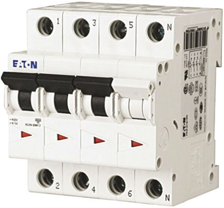 Eaton - FAZ6-C63/3N - Eaton xEffect FAZ6 系列 3 + N�O 63 A MCB 微型�嗦菲� FAZ6-C63/3N, 6 kA �嚅_能力, C型 跳�l特性