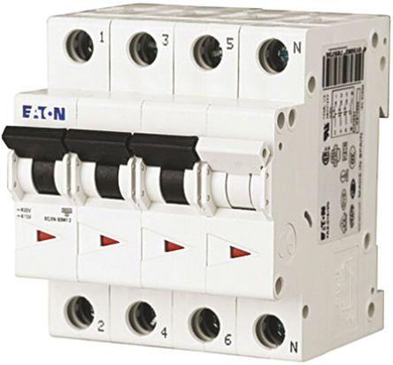 Eaton - FAZ6-C63/3N - Eaton xEffect FAZ6 系列 3 + N极 63 A MCB 微型断路器 FAZ6-C63/3N, 6 kA 断开能力, C型 跳闸特性