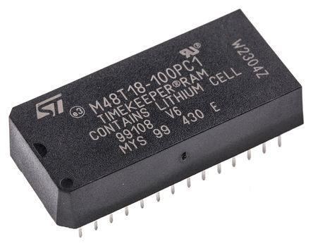STMicroelectronics - M48T18-100PC1 - STMicroelectronics M48T18-100PC1 实时时钟 (RTC), 备用电池、日历、芯片取消选择、转移、写入保护功能, 8192B RAM, 并行总线, 4.5 → 5.5 V电源, 28引脚