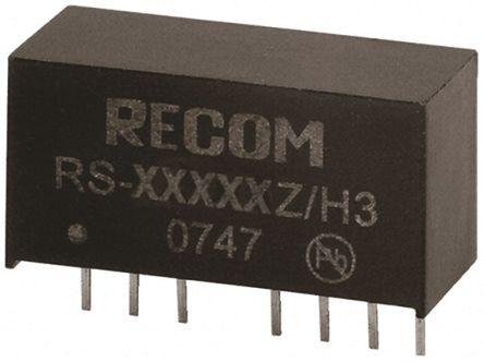 Recom - RS-4815DZ/H3 - Recom RS 系列 2W 隔离式直流-直流转换器 RS-4815DZ/H3, 18 → 72 V 直流输入, ±15V dc输出, ±67mA输出, 3kV dc隔离电压, 83%效能, SIP封装