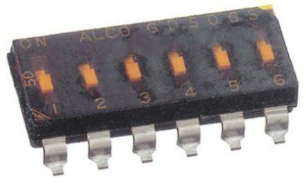 TE Connectivity - 1825006-3 - TE Connectivity 1825006-3 2位置 滑动 通孔 DIP 开关, 单刀单掷, 25 mA@ 24 V 直流