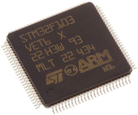 STMicroelectronics - STM32F103VET6 - STMicroelectronics STM32F 系列 32 bit ARM Cortex M3 MCU STM32F103VET6, 72MHz, 512 kB ROM 闪存, 64 kB RAM, 1xUSB, LQFP-100