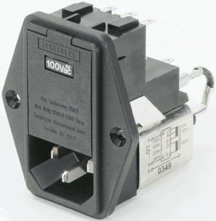 Schaffner - FN376-2-22 - Schaffner 面板安装 IEC/EN 60939 IEC 滤波 插头 FN376-2-22, 焊接端接, 额定2A, 250 V 交流