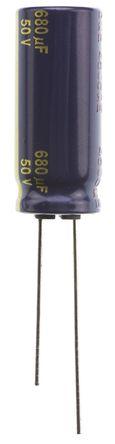 Panasonic - EEUFC1H681L - Panasonic FC 径向 系列 50 V 直流 680μF 通孔 铝电解电容器 EEUFC1H681L, ±20%容差, 40mΩ(等值串联), 最高+105°C