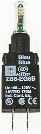 Schneider Electric - ZB6EG3B - Schneider Electric XB6 系列 照明块 ZB6EG3B, 48 → 120 V c.a., 绿色 LED, Faston 连接器接端