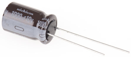 Nichicon - UPS1A102MPD - Nichicon PS 系列 10 V 直流 1000μF 通孔 铝电解电容器 UPS1A102MPD, ±20%容差, 最高+105°C