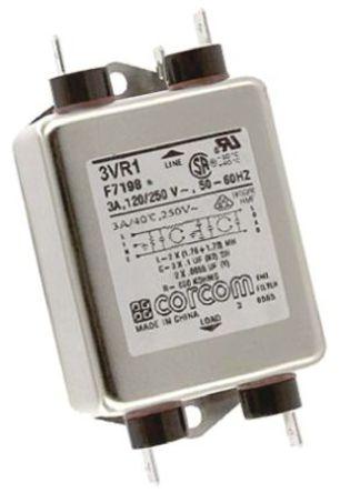 TE Connectivity - 3VR1 - TE Connectivity 3VR1 电源线过滤, 3 A, 250 V 交流, 97.8 x 52.6 x 29.5 mm