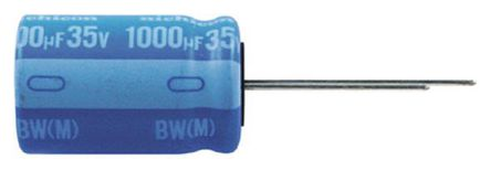 Nichicon - UBW1A471MPD - Nichicon BW 系列 10 V 直流 470μF 通孔 铝电解电容器 UBW1A471MPD, ±20%容差, 最高+135°C