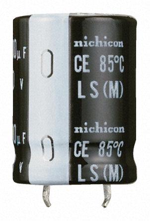 Nichicon - LLS1J332MELA - Nichicon LS 系列 63 V 直流 3300μF 通孔 铝电解电容器 LLS1J332MELA, ±20%容差, 最高+85°C