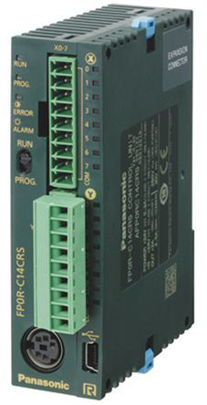 Panasonic - AFP0RC14RS - Panasonic AFPOR 系列 系列 PLC CPU AFP0RC14RS, 148 kB内存, 以太网, 16 步编程容量, 14 I/O 端口, 115.2 kbps波特率, 表面安装安装, 24 V 直流类别