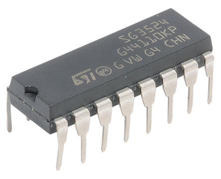 STMicroelectronics - SG3524N - STMicroelectronics SG3524N PWM 电压模式控制器, 双, 推挽式拓扑, 100 mA输出, 300 kHz, 8 → 40 V电源, 16引脚 PDIP封装