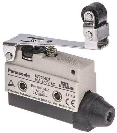 Panasonic - AZ7124CEJ - Panasonic IP64 限位开关 AZ7124CEJ, 杠杆, SPDT, 常开/常闭, 250V