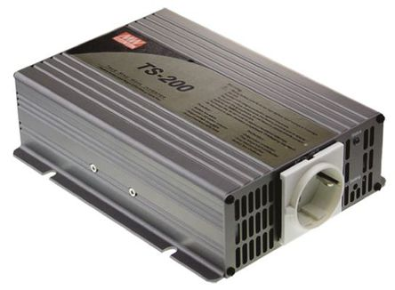Mean Well - TS-200-212-D - Mean Well 200W 直流-交流汽车电源逆变器 TS-200-212-D, 10.5 → 15V dc / 230V ac, 86%效能, 1.63kg重量, 205 x 158 x 59mm