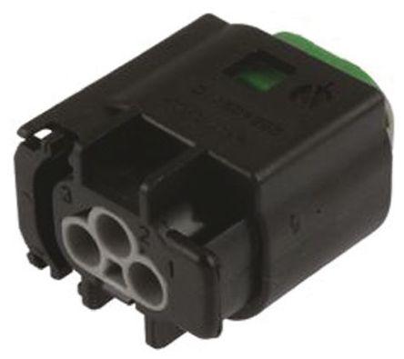 TE Connectivity - 2-967642-1 - TE Connectivity Micro Quadlock System 系列 3路 电缆安装 灰色 母 连接器 2-967642-1, 压接端接