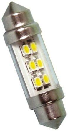 JKL Components - LE-0909-11NW - JKL Components 白色光 尖浪形 LED 车灯 LE-0909-11NW, 38 mm长 10.7mm直径, 24 V 交流/直流 45 mA, 43 lm
