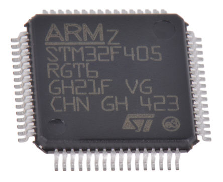 STMicroelectronics - STM32F405RGT6TR - STMicroelectronics STM32F 系列 32 bit ARM Cortex M4 MCU STM32F405RGT6TR, 168MHz, 1024 kB ROM 闪存, 192 kB RAM 2xUSB, LQFP