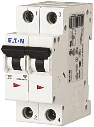 Eaton - FAZ6-C4/2 - Eaton xEffect FAZ6 系列 2极 4 A MCB 微型断路器 FAZ6-C4/2, 6 kA 断开能力, C型 跳闸特性