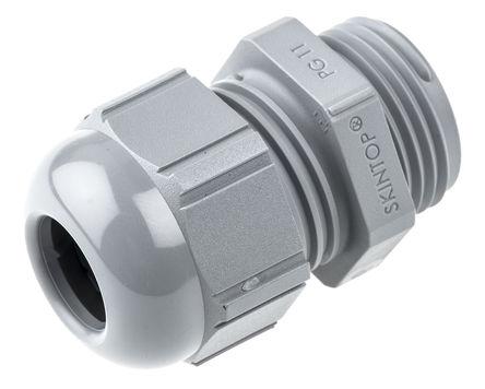 Lapp - 53015020 - Lapp SKINTOP? 系列 IP68 灰色 聚酰胺 电缆固定头 53015020, 4mm 至 10mm电缆直径, -20°C至+80°C, PG11螺纹