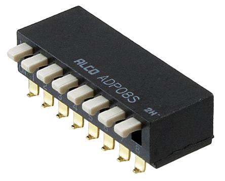 TE Connectivity - ADP04STR04 - TE Connectivity ADP04STR04 4位置 琴键式 通孔 DIP 开关, 单刀单掷, 100 mA@ 24 V 直流