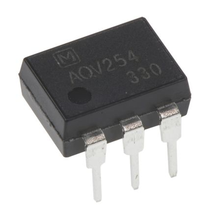 Panasonic - AQV254 - Panasonic 光耦 AQV254, 直流输入, MOSFET输出, 6引脚 DIP 封装